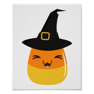 Candy Corn Halloween Witch Poster