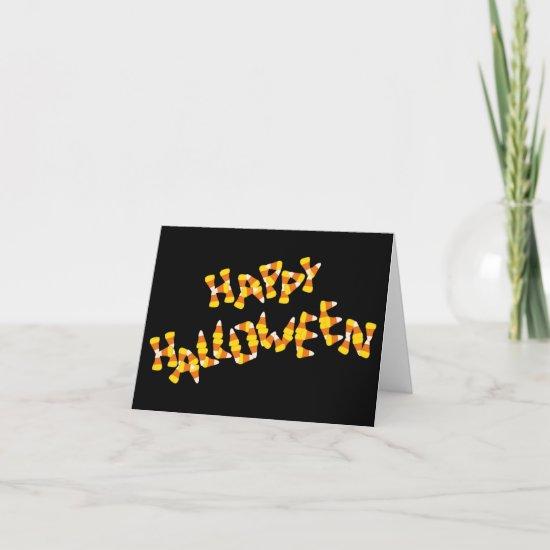candy corn happy halloween greeting card
