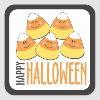 Candy Corn Happy Halloween Square Sticker