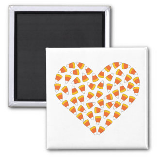 Candy Corn Heart 2 Inch Square Magnet