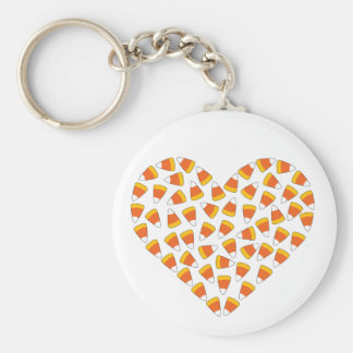 Candy Corn Heart Keychain