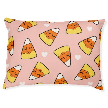 Halloween Themed Candy Corn Heart Pattern Pink Pet Bed