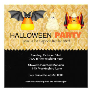 Candy Corn in Costume Halloween Party Invitation