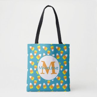 Candy Corn Monogram Tote Bag