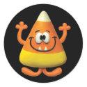 Candy Corn Monster Classic Round Sticker
