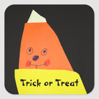 Candy Corn Monster Square Sticker