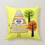 Candy Corn Mummy Halloween Pillow