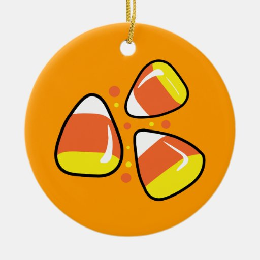 Candy Corn Double-Sided Ceramic Round Christmas Ornament