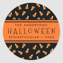 Candy Corn Personalized Halloween Party Classic Round Sticker