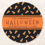 """Candy Corn Personalized Halloween Party Round Paper Coaster<br><div class=""""desc"""">Trick or treat! These festive coasters are perfect for your Halloween bash. Personalized design features an allover candy corn print in orange and yellow on a spooky black background. Personalize with your Halloween party details using the fields provided for the ultimate in custom party supplies!</div>"""