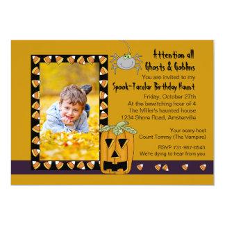 Candy Corn - Photo Halloween Birthday Party Invita Card