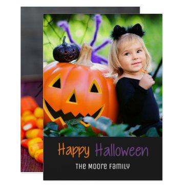 Halloween Themed Candy Corn Pumpkin Happy Halloween Photo Card