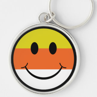 Candy Corn Smiley Silver-Colored Round Keychain
