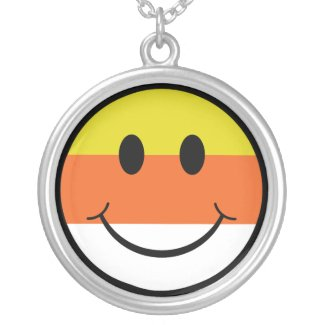 Candy Corn Smiley Personalized Necklace