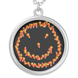 Candy Corn Smiley Silver Plated Necklace