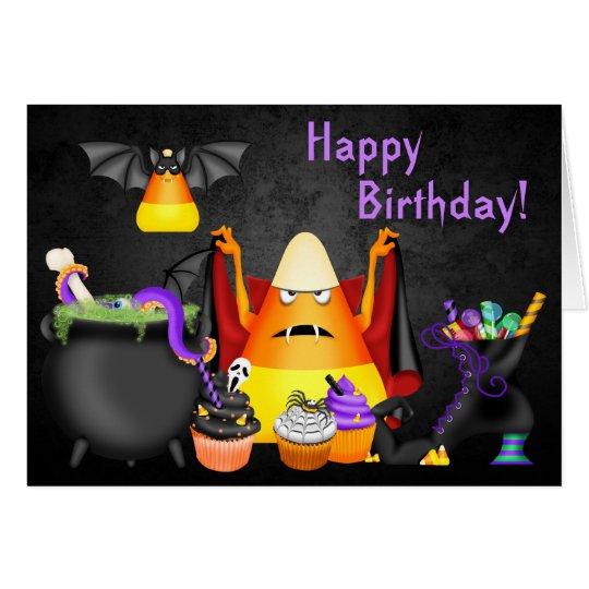 Candy Corn Spooky Treats Halloween Happy Birthday Card | Zazzle.com