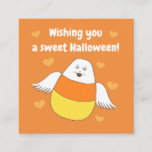 Candy Corn Sweet Halloween Wishes Square Business Card