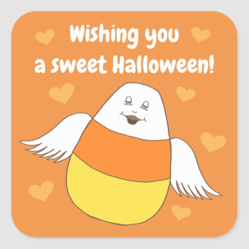 Candy Corn Sweet Halloween Wishes Square Sticker