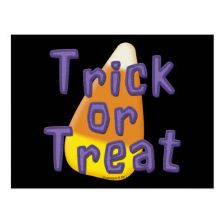 Candy Corn Trick or Treat Halloween Postcard