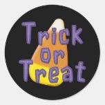 Candy Corn Trick or Treat Halloween Round Sticker