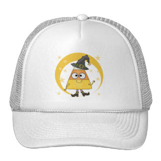 Candy Corn Witch Halloween Mesh Hat