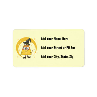Candy Corn Witch Halloween Custom Address Labels