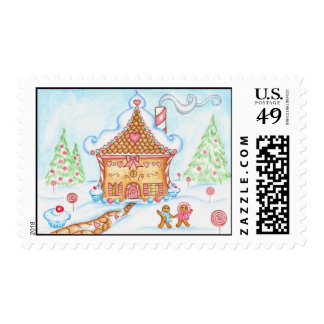 Candy Couple Gingerbread House Postage