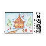Candy Couple Gingerbread House Postage Stamp