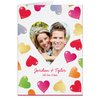 Candy Crush Hearts Personalized Photo Frame Card
