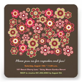 Candy Daisies Bloom Kids Birthday Photo Invitation Custom Invite