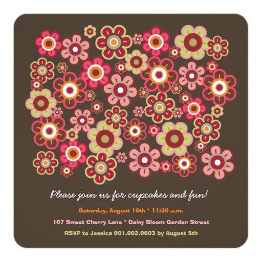 Candy Daisies Bloom Kids Birthday Photo Invitation