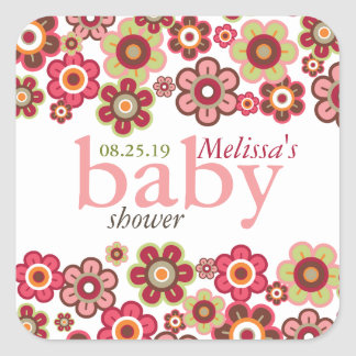 Candy Daisies Flowers Blooms Baby Shower Gift Tag Square Sticker