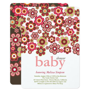 Candy Daisies Flowers Blooms Baby Shower Invite