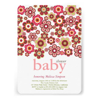 Candy Daisies Flowers Blooms Baby Shower Invite Invitation