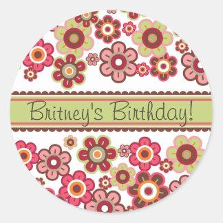 Candy Daisies Pattern Birthday Gift Label Sticker