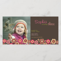 Candy Daisies Pattern Birthday Invite Photo Card