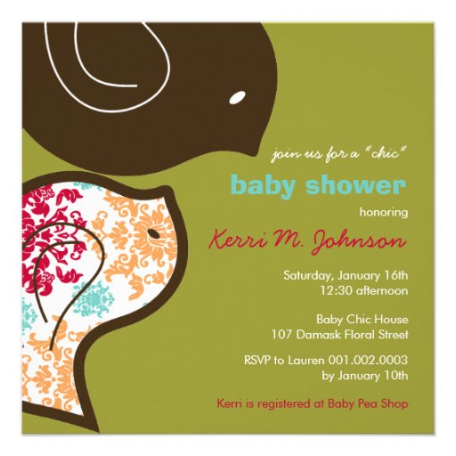 Candy Damask Chicks Baby Shower Party Invitation Personalized Invite