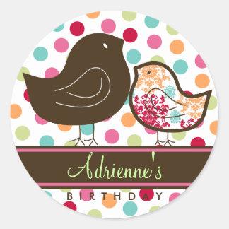 Candy Damask Chicks Birthday Favors Label Sticker