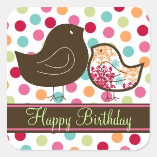Candy Damask Chicks Girl Birthday Party Sticker