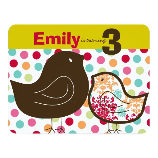 Candy Damask Chicks Kids Birthday Party Invitation Personalized Invitation