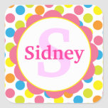 Candy Dots Personalized Monogram Sticker