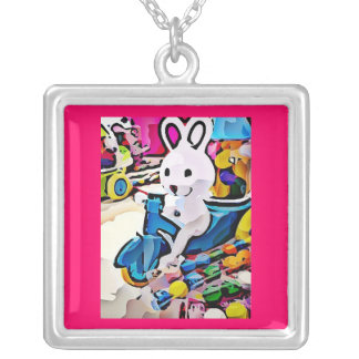 Candy Easter Bunny Silver Plated Necklace