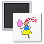 Candy Floss Kid 2 Inch Square Magnet