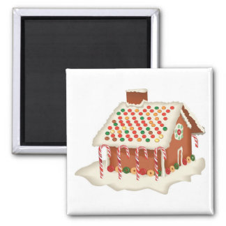 Candy Gingerbread Cottage 2 Inch Square Magnet