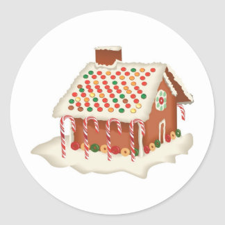 Candy Gingerbread Cottage Classic Round Sticker