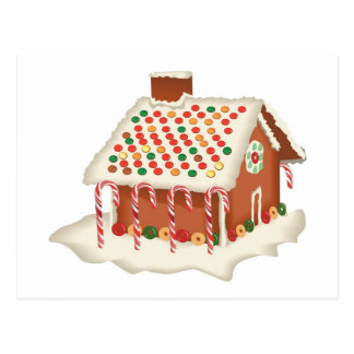Candy Gingerbread Cottage Postcard