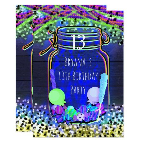 candy glow in the dark mason jar party invitations zazzle com