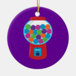Candy Gumball Machine Double-Sided Ceramic Round Christmas Ornament