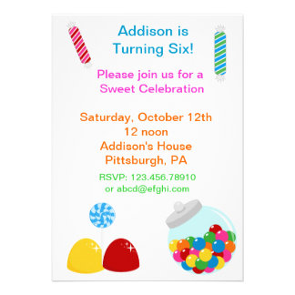 Candy Gumdrop Birthday Invitation