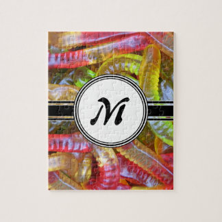 Candy Gummie Sweets Monogram Pattern Jigsaw Puzzle